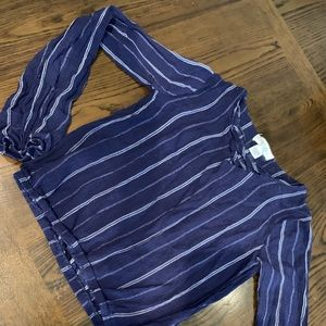 Girls Long sleeve blue striped blouse